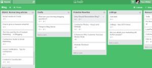 Trello helps organize blog article ideas.